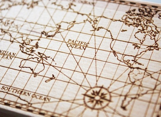 Cement Design Old World Map Card Chest