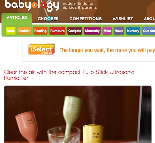 babyology tulip stick ultrasonic humdifier