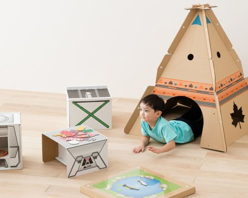 Cardboard Teepee Desk for Kids