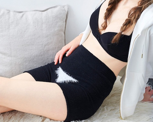 Fluffy Black Cat Haramaki Underwear