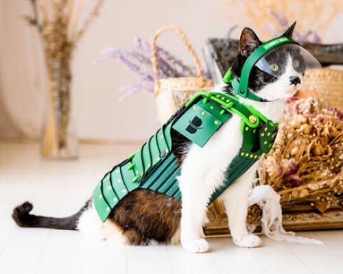 Samurai Pet Armor for Cats and Dogs (Green)