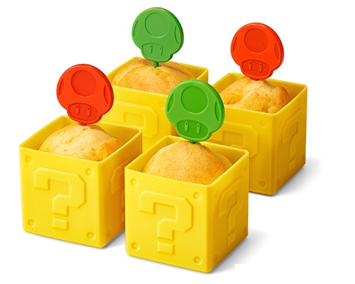Super Mario Question Block Muffin Cups & Mushroom Toppers