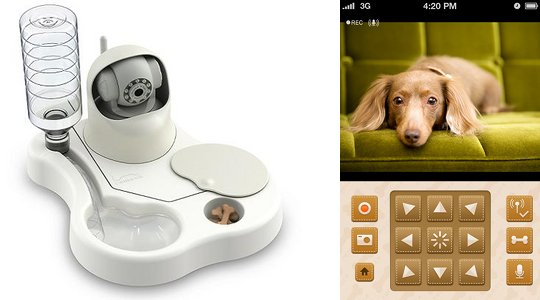 Japan Trend Shop Remoca Dog Food Bowl Camera
