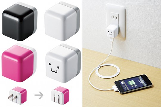 Elecom Cube Face iPad iPod iPhone 100V AC Charger