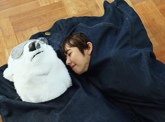 Super Big Wrapped in Warmth Happy Furry Jeans Sleeping Bag