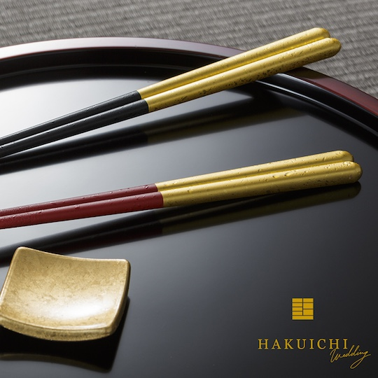 Husband and Wife Gold Leaf Drops Chopsticks Luxury Gift