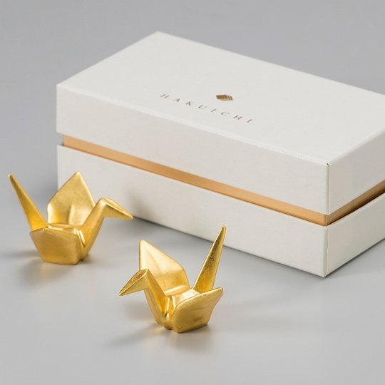 Gold Leaf Crane Chopstick Rests