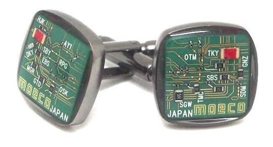 Moeco Tokyo Railway Electric Circuit Board Cufflinks