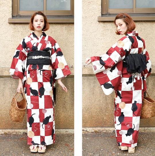 Vintage Cat Yukata Kimono Set