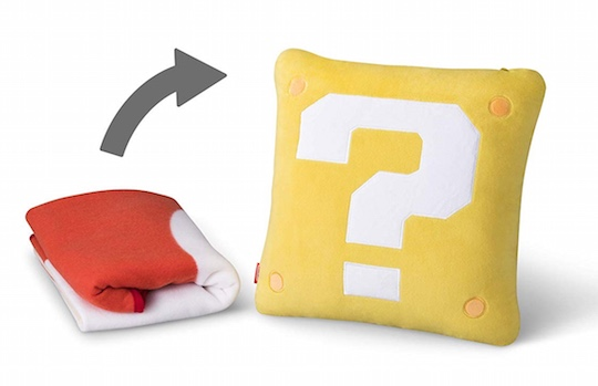 Mario Question Mark Block Cushion Super Mushroom Mini Blanket
