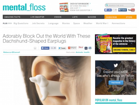 mental floss mimi pet earplugs