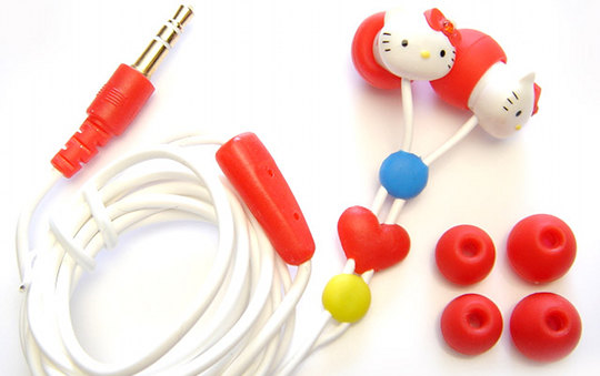 The Hello Kitty Stereo Earphones feature: