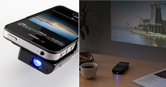 Monolith iphone 4 4s micro projector by sanwa mini phone for Micro mini projector
