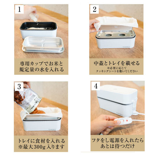 Thanko Two-Tier Super-Fast Rice Cooker and Lunchbox