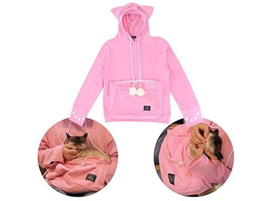 d6122bfb1c3d Mewgaroo Hoodie Pet Pouch Sweatshirt (Pink)