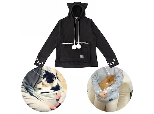b924e31607e4 Mewgaroo Hoodie Pet Pouch Sweatshirt (Black)