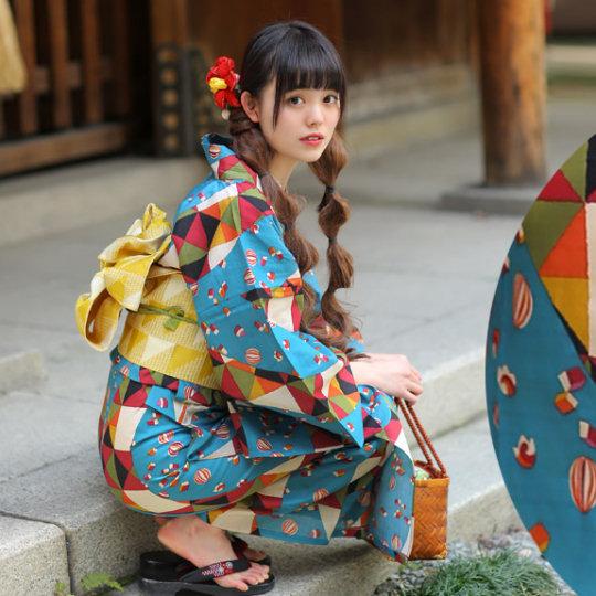 Geometric Pattern Vintage Showa-style Yukata
