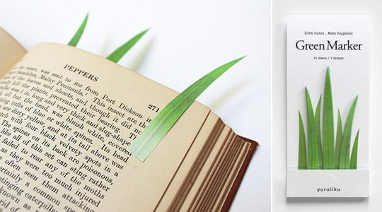 Green Marker Grass Sticky Notes Bookmark 3 Pack Set
